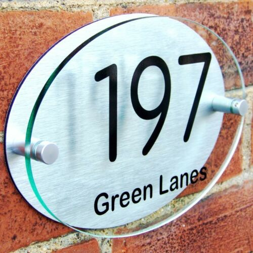 HOUSE DOOR NUMBER PLAQUE PLATE WALL GATE SIGN NAME GLASS ACRYLIC ALUMINIUM