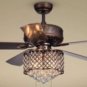 Image Is Loading Crystal Chandelier Ceiling Fan Light Fixture Rustic Bronze