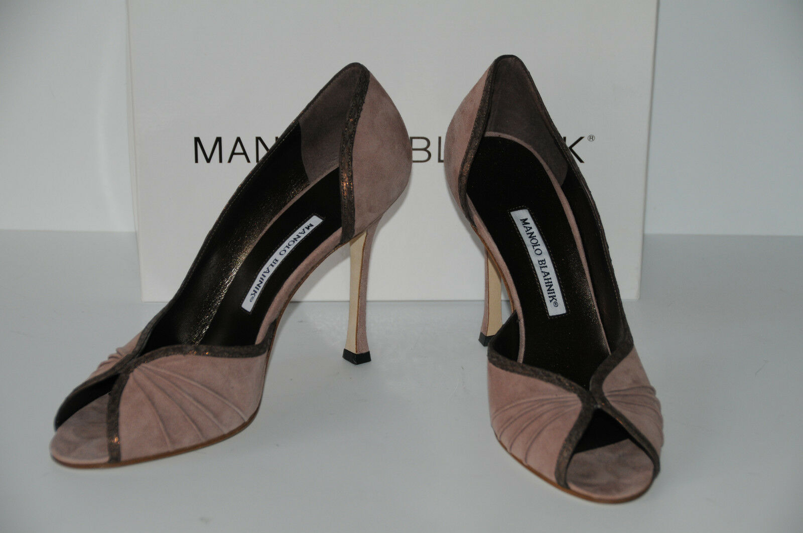 New MANOLO MANOLO MANOLO BLAHNIK Snake trim BEIGE BROWN suede DECI Peep toe SHOES HEELS 41.5 b750cc