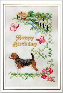 beagle birthday card embroidered by dogmania  free, Birthday card