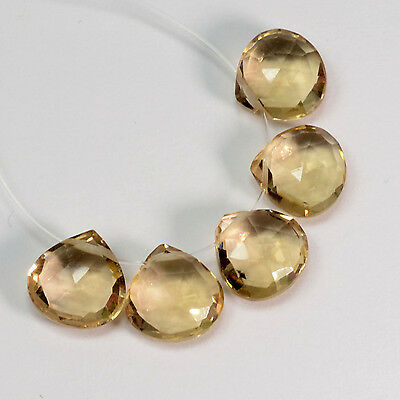 8mm Champagne Citrine Calibrated Heart Briolette Beads (5)