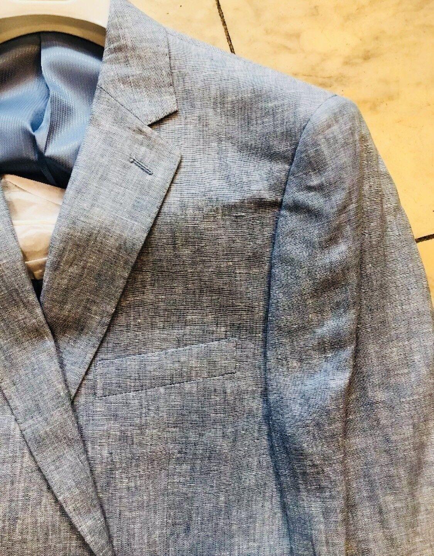 NWT APOLLO KING Classic Fit Men's 100% Linen Suit Lined bluee color 2BT Size 38R