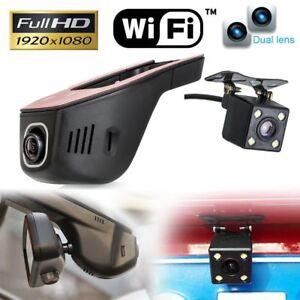 Details about WiFi Hidden 1080P FHD Dual Lens Car DVR Dash Cam Rear Camera  Video Recorder APP