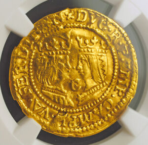 1593-Netherlands-Kampen-Catholic-Monarchs-Gold-Ducat-Coin-NGC-AU