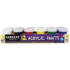 Sargent Art 12 Jar Color ACRYLIC PAINT Set Non-Toxic Acid Free 66-5421