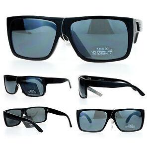 353445ae8ef SA106 Mens All Black Flat Top Rectangular Mob Gangster Sunglasses