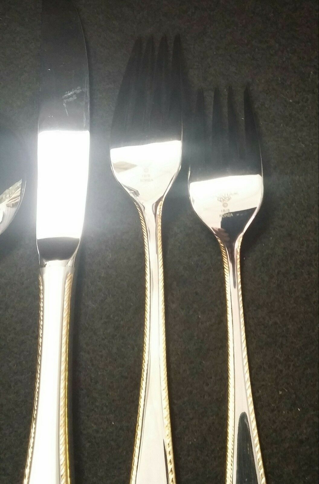 GORHAM Gold RIBBON EDGE EDGE EDGE FROSTED STAINLESS 5 PIECE PLACE SETTING KOREA 558e6c