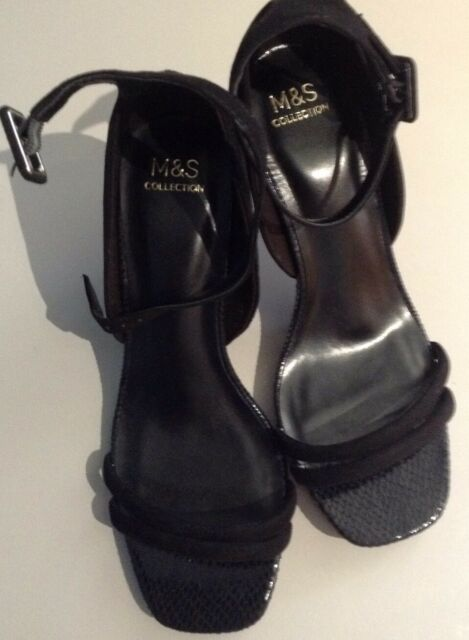 BNWT M&S LADIES HEELS SANDALS , SIZE 5.5 , BLACK, FAUX SUEDE, STRAPPY