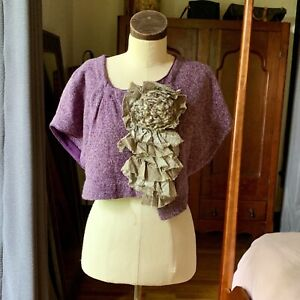 MOTH Anthropologie Purple Sweater Shrug Cardigan M/L