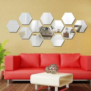 Details about 12pcs Hexagon Wall Sticker Acrylic Geometric 3D Mirror  Bedroom Living Room Decor