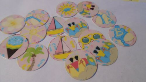 Pre Cut One Inch Bottle Cap Images Summer Beach Sand Free Shipping