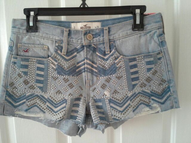 Hollister embellished shorts denim size 3 juniors frayed
