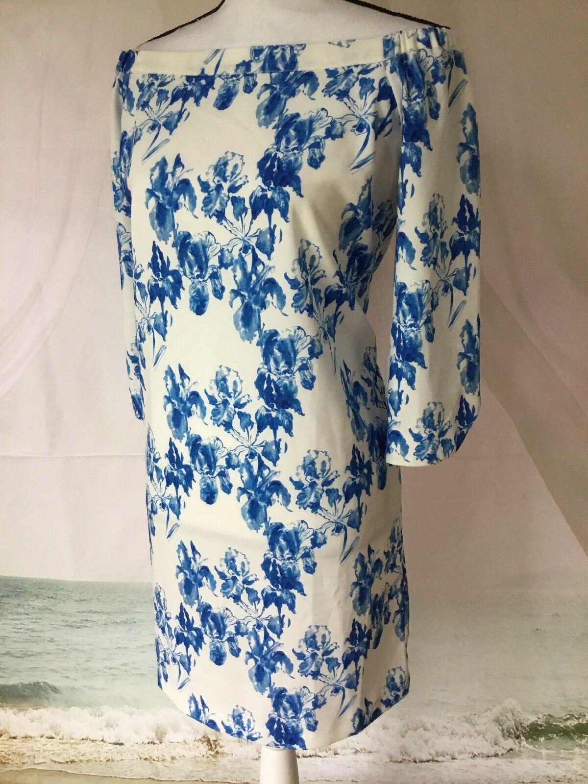 NEIMAN MARCUS NWT damen Blau FLORAL CREPE OFF THE SHOULDER DRESS Blau FLORAL M