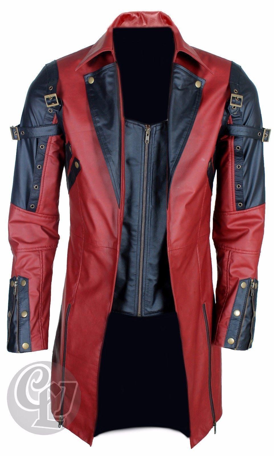 Herren Echtleder Gothic Matrix Trenchcoat Steampunk Schwarz Rot - XS - 3XL