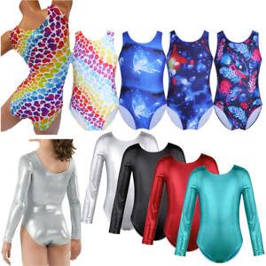 Kids Gymnastics Leotard Girls Ballet Dress Dancewear Unitard Tank Bodysuit 3-14Y