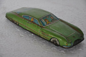 Vintage-Friction-MTI-505-Unique-Long-Litho-Green-Car-Tin-Toy