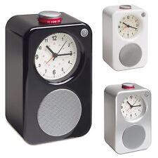 Reloj despertador analógico con radio AM/FM Estilo Retro-Alimentado por Batería (Negro)