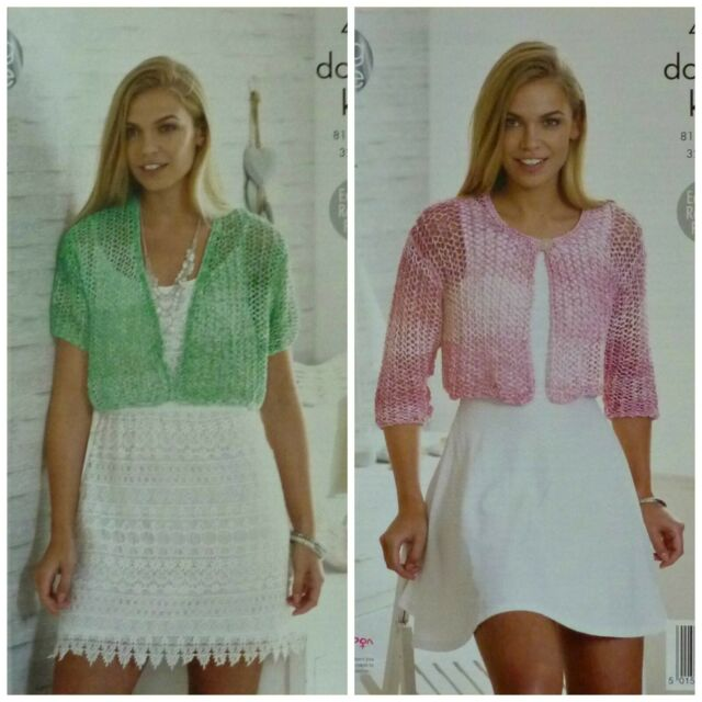 King Cole Ladies Double Knitting Pattern Easy Cropped Cardigans Vogue DK 4456
