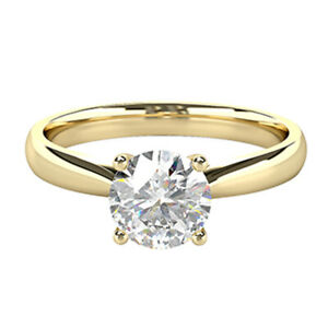 2.00 Ct Round Moissanite Anniversary Wedding Ring 18K Solid Yellow Gold Size 5