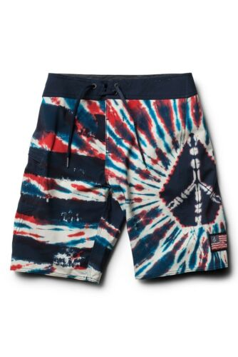Volcom Boy/'s 26//12 Peace Sign Stone Mod Tech Board Shorts Red Blue White Tie Dye