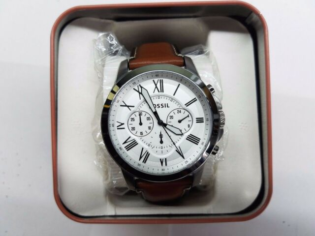 1076612155a9 Fossil Original FS5184 Men s Grant Light Brown Leather Watch 44mm  Chronograph for sale online