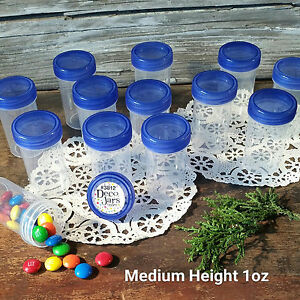 24-Pill-Jars-2-034-tall-Screw-Blue-Cap-1-ounce-Favor-Size-Container-3812-USA-New