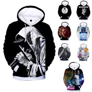 Unisex Eminem 3D Digital print plus velvet Casual long sleeve sport hoodied Tops