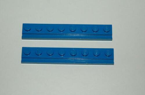 2 Lego train chemin de fer voie ferrée rail de guidage plaque 8x1 BLEUE