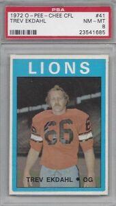 1972-OPC-CFL-football-card-41-Trev-Ekdahl-British-Columbia-Lions-PSA-8