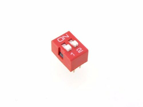 """2 Position DIP Switch 2.54mm 0.1/"""" Pitch Pack of 5"""