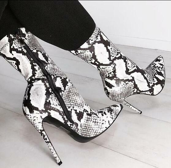 Womens Pointed Toe Snake Pattern Zippers Ankle Boots Stilettos High Heel shoes 8