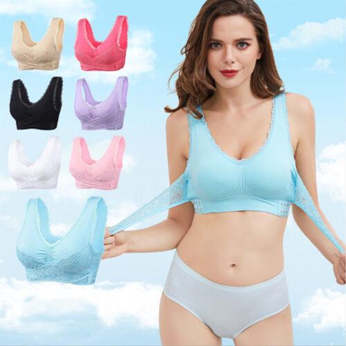 Women Front Cross Side Buckle Wireless Lace Bra Comfy Breathable Yoga Sport Bras