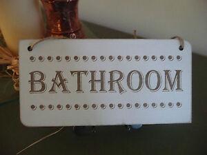 Cartello Da Appendere In Bagno : Wooden bath door home bathroom shabby distressed vintage sign