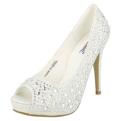 Mujer Anne Michelle Tacón Alto peep-toe Blanco Purpurina Zapatos de salón f10440