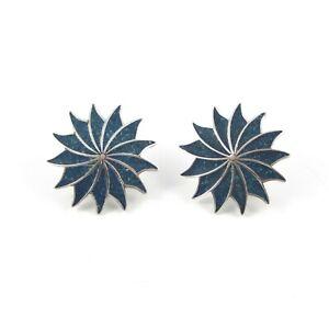 Vintage-Sterling-Silver-A-Garcia-Taxco-Swirl-Pinwheel-Screw-Back-Earrings