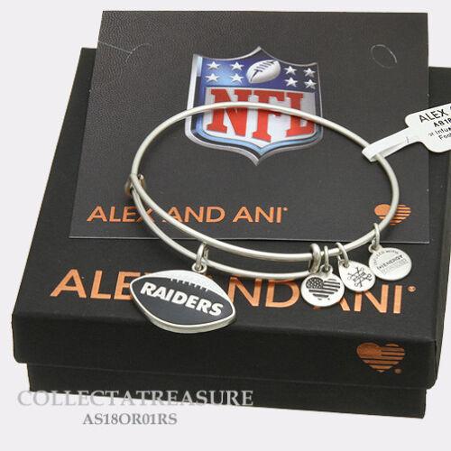 Authentic Alex and Ani Oakland Raiders Football ii Rafaelian Silver Bangle