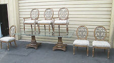 """57172 SCHNADIG  ETCHED GLASS Dining Table with 6 Chairs  QUALITY  96"""" x 52"""" Top"""