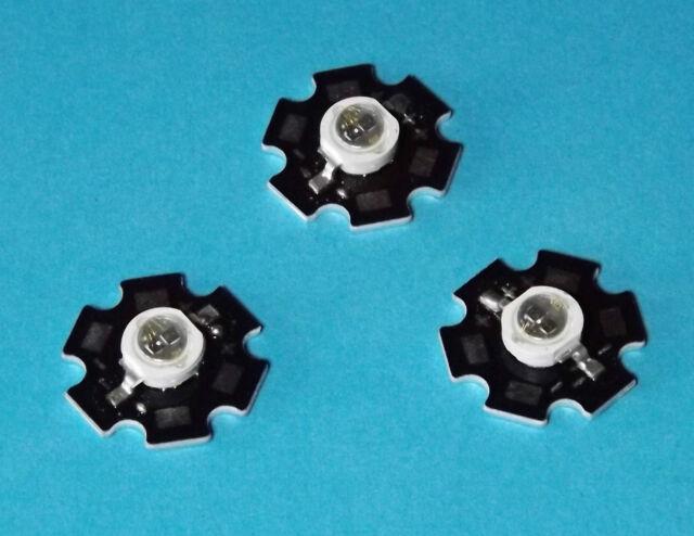 5 X  3W 365nm UV POWER  LED on HEATSINK Kühlkörper Emitter  Ultra Violet 5mm