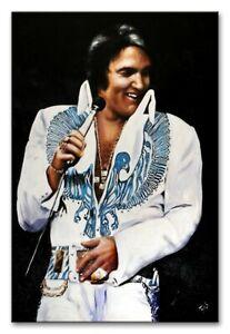 Elvis-Presley-Saenger-Echte-Handarbeit-Rahmen-Ol-Gemaelde-Bild-Bilder-G94132