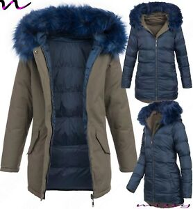 NEW-WOMENS-Oversized-Hood-LADIES-QUILTED-WINTER-COAT-FUR-COLLAR-JACKET-PARKA-REV
