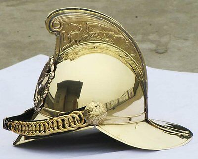 Brass Fireman FIRE Fighter Brigade British Chief Helmet