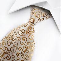 UK0108 New Silk Yellow White Floral Classic WOVEN JACQUARD Necktie Men's Tie