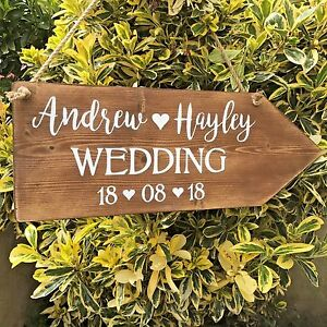 Large Rustic Wedding This Way Sign Wooden Arrow Personalised Wedding ...