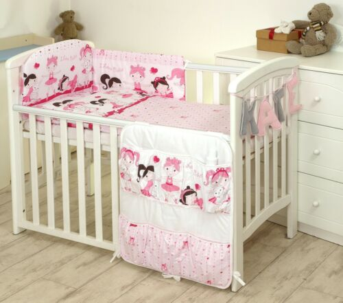 TO FIT COT or COT BED 3-5-7-9 pcs FLOWERS BEDDING SET BUMPER+COVERS+DUVET+more
