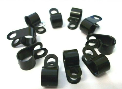 Cable Fasteners Black Tubing 7.8mm Nylon *Top Quality! Pack of 10 P-Clips
