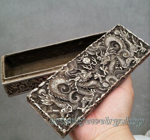 Qing dynasty Handwork Miao silver dragon statue Bank money jewelry Box