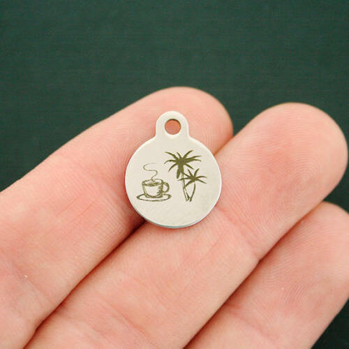 Palm Trees BFS3123 Beach Coffee Stainless Steel Charms SMR