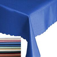 Abverkauf Punkte Damast Tischdecke Eckig Breite 90, 110, 130, 135 cm Größe Farbe