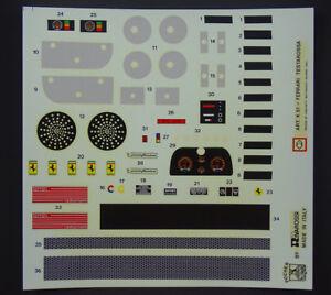 Pocher-1-8-ferrari-pegatinas-set-Speedometer-Testarossa-k51-k52-rojo-Decals-m18