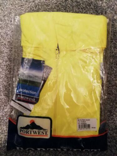 H440 Portwest HI-VIZ Rain Jacket YELLOW//MED Waterproof Hooded Workwear